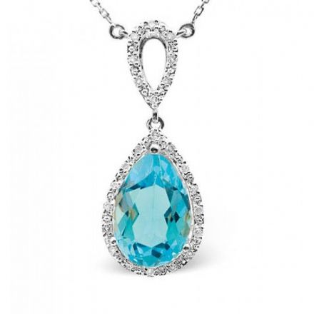 9K White Gold 0.12ct Diamond & 3.52ct Blue Topaz Necklace, B1215